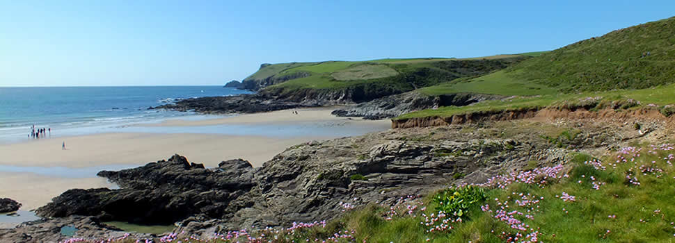 The popular surfing beach at Polzeath on the north coast of Cornwall is less than 10 miles away