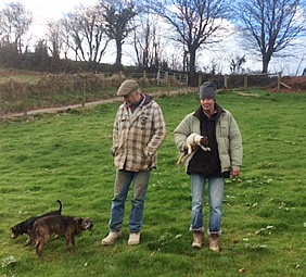 John and Caroline out with their dogs at Higher Tregawne