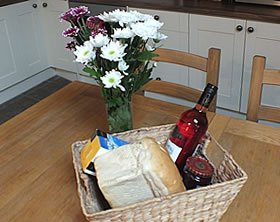 A scrumptious welcome basket awaits you on your arrival